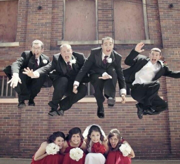 this idea for a pic with the guys jumping over girls...