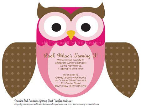 Free editable owl invitation template, multiple color options!