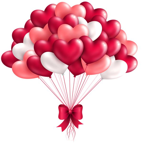 Beautiful Heart Balloons PNG Clipart Image