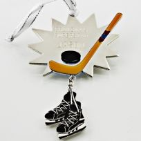 Hockey Skates and Stick Ornament