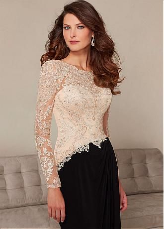 Buy discount Elegant Chiffon Long sleeves Bateau Neckline Floor-length Mother of the Bride Dresses at Dressilyme.com