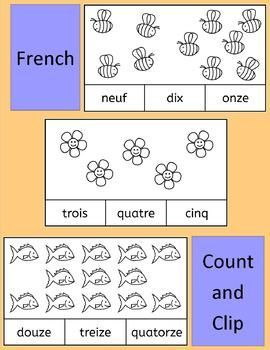 French Count and Clip cards - practice number... by Llanguage Llamas   Teachers Pay Teachers