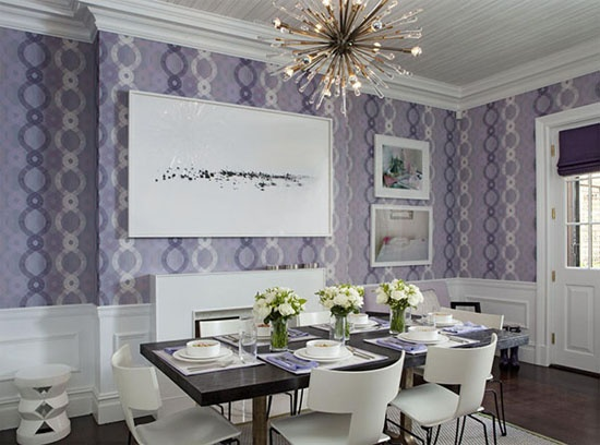 loving the wallpaper and the purple/white accent dining room idea