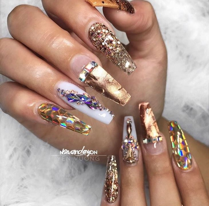 gold nails with diamonds coffin nails