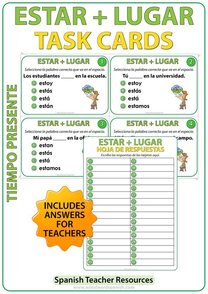 Task cards to practice the conjugation of the verb ESTAR followed by a place. Tarjetas de selección múltiple para practicar la conjugación del verbo ESTAR+ un lugar en español.