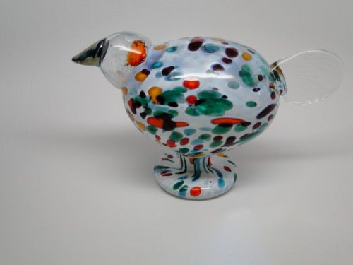 Oiva-Toikka-Nuutajarvi-Finland-Artglass-bird-Indian-Fowl-Extremely-rare