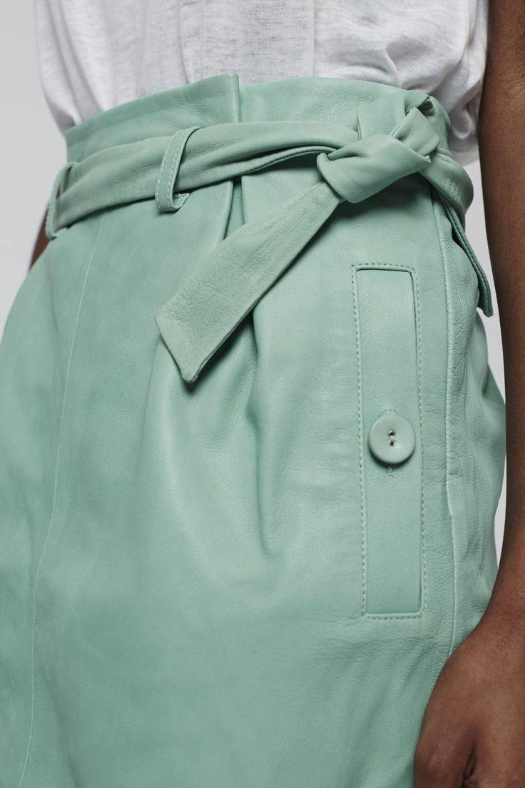 Paperbag Leather Mini Skirt