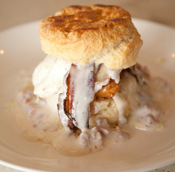 For those of you who just can not get enough animal fat in your diet: Biscuit, Bacon and Gravy Breakfast Sandwich
