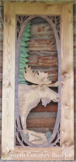 "Hand Carved Screen Doors | Hand Carved, Hand Painted Screen door featuring ""Woodland Moose"" by ..."