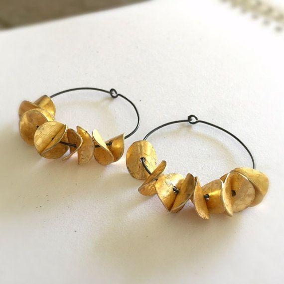 Gold Earrings Oxidized Sterling Silver Jewelry by jewelrybycarmal