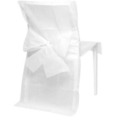 10 housses de chaise blanches, noeud inclus, dim. 50xh.92 cm, tissu non tissé. Peut s'utiliser en décoration de salle pour mariage, baptême ou autre évènement.