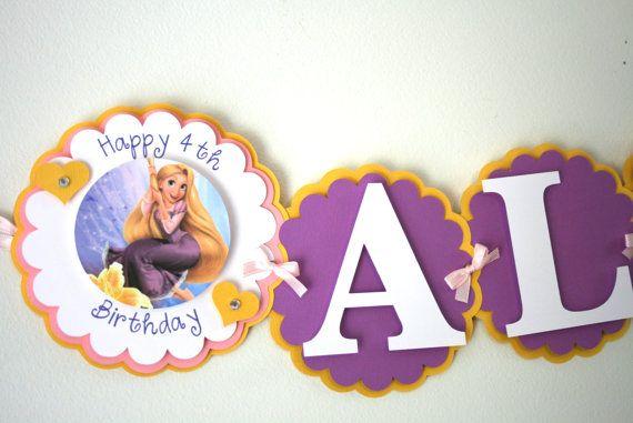 Tangled Inspired Birthday Banner  Rapunzel by treelittlebirdz