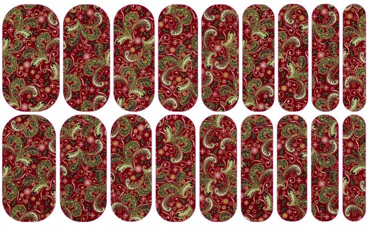 Christmas Paisley | Jamberry NAS #christmas #nailart #easynailart #DIYNailart #nailwraps #Jamberry #nailartstudio #paisley