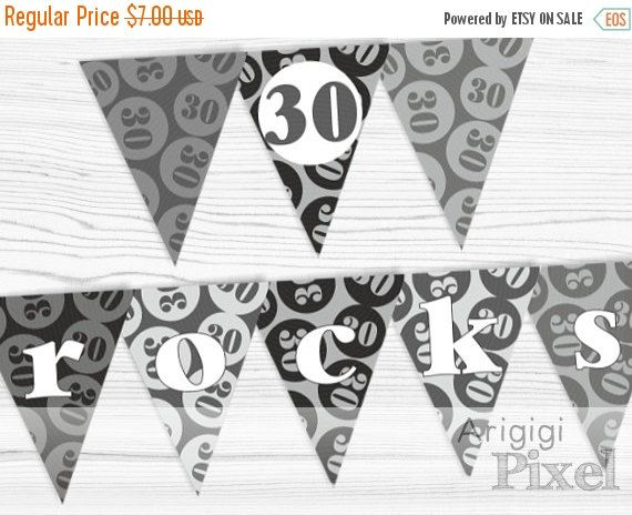 ON SALE 50 % OFF 30 rocks birthday banner, black / gray birthday party decoration, 30th birthday, Pdf file instant download, ready to print