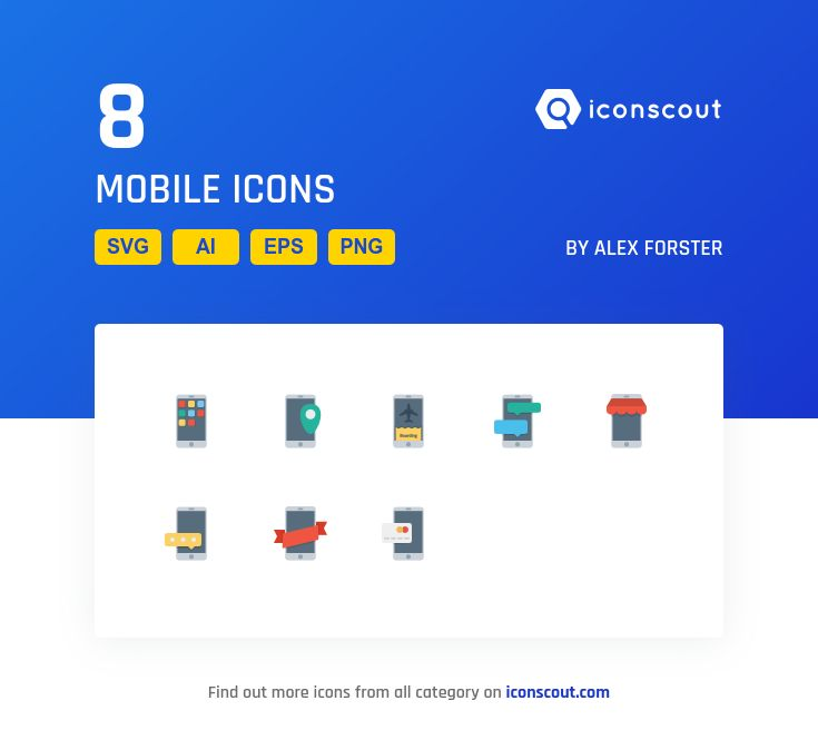 Mobile  Icon Pack - 8 Flat Icons