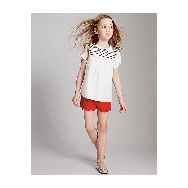 Cotton Scallop Shorts with Stretch (3-14 Years) ❤ liked on Polyvore featuring shorts, stretch shorts, scallop hem shorts, scalloped shorts, cotton stretch shorts and stretchy shorts