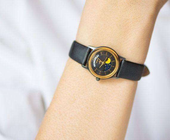 Romantic women's quartz watch Ray black gold rim by SovietEra