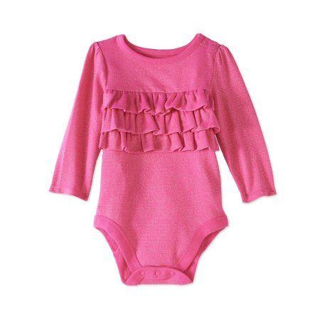 2ac4dc2f9 Garanimals Newborn Baby Girls' Long-Sleeve Metallic Ruffle Bodysuit, Size:  12M, Pink