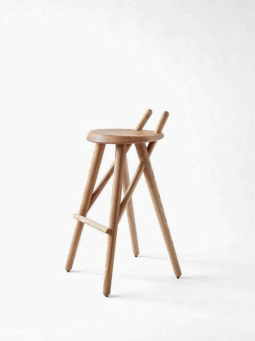 Barstool 02 by LUGI - It almost looks like there was a fatal mishap during the manufacturing of the Barstool 02 by LUGI. Two wooden sticks have been impaled through the ...