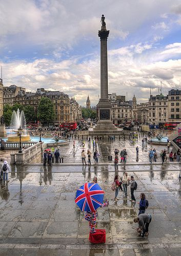"London - Trafalgar Square, formerly known as Charing Cross, commemorates victory over France,  of ""The Battle of Trafalgar"" of the Napoleonic wars. At the center is Nelson's Column (Admiral Horatio Nelson) guarded by 4 lion statues."
