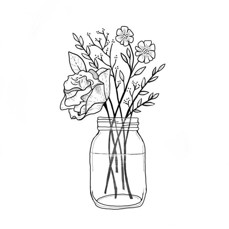 Mason Jar With Wildflowers Black And White Minimalist