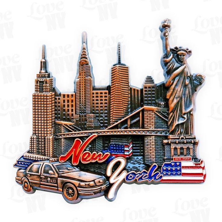 New York City Taxi Skyline Magnet #Big-Apple #Buero #Büro #Magnet #Magnets #USA #America #Amerika #Fahne #Flag #Skyline #Manhattan #Freiheitsstatue #Liberty #LadyLiberty #ESB