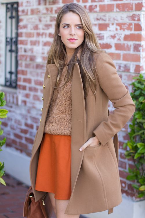 Camel sweater/coat + rich orange skirt and Chestnut handbag. Lovely Autumn ensemble.