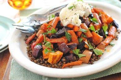 Чечевица с запеченными овощами
