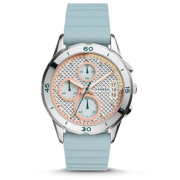 Fossil Modern Pursuit Chronograph Blue Silicone Watch (2736450 BYR) ❤ liked on Polyvore featuring jewelry, watches, fossil watches, silicone watches, fossil wrist watch, silicon watches and silicone wrist watch