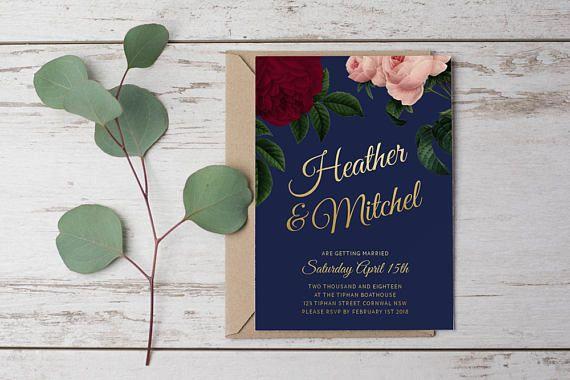 DIY Printable Botanical Floral Wedding Invitation Main Invitation   Save the Date   RSVP   Details   Calligraphy Script   Navy & Gold