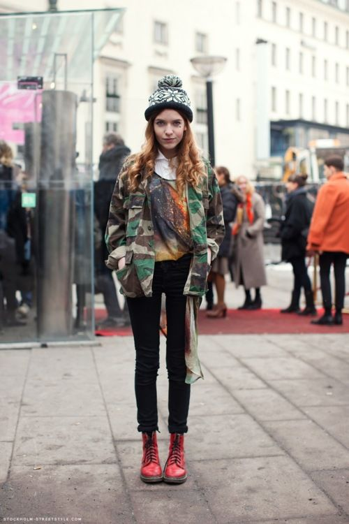 ARMY: Street Fashion, Camo Style, Doc Martens, Fashion Week, Models Style, Outfit, Mixed Prints, Models Street Style, Army Jackets