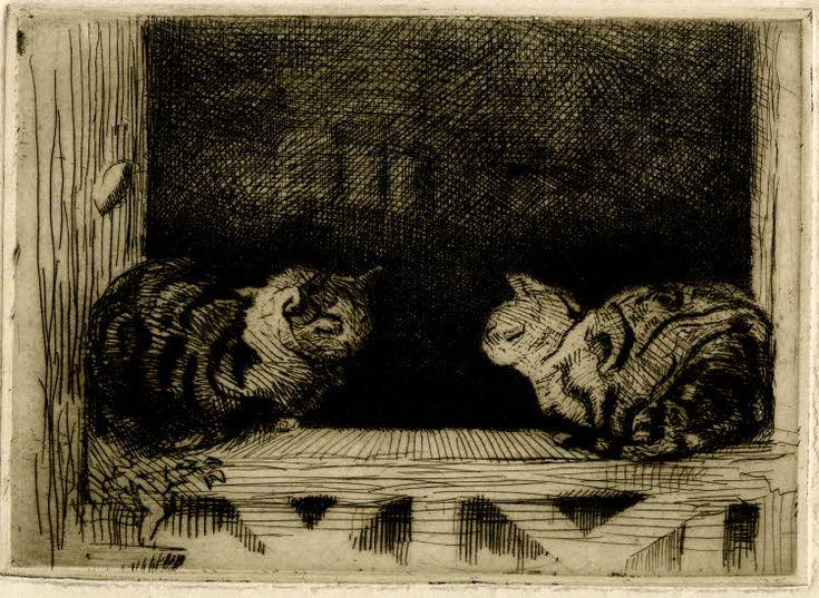 Window sill cats. Lowes Dalbiac Luard (1872–1944). Etching, printed in dark brown ink.
