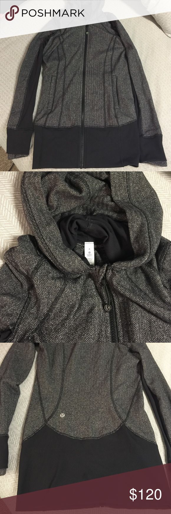 Lululemon Hoodie Only worn 3 times. Heather grey and black fabric. No stain or wearing of any kind! lululemon athletica Tops Sweatshirts & Hoodies