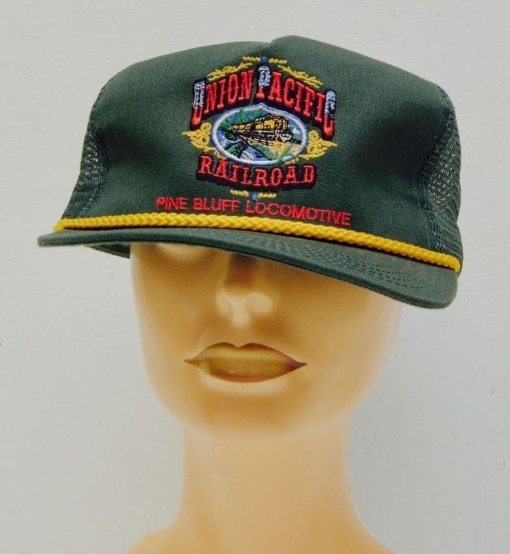 Vtg #Union #Pacific #Railroad #Pine #Bluff Locomotive Snapback Cap Trucker Mesh Hat