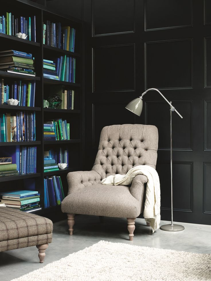 Add a British heritage feel to your living room with a classic armchair with deep buttoning, and hand turned hardwood feet.