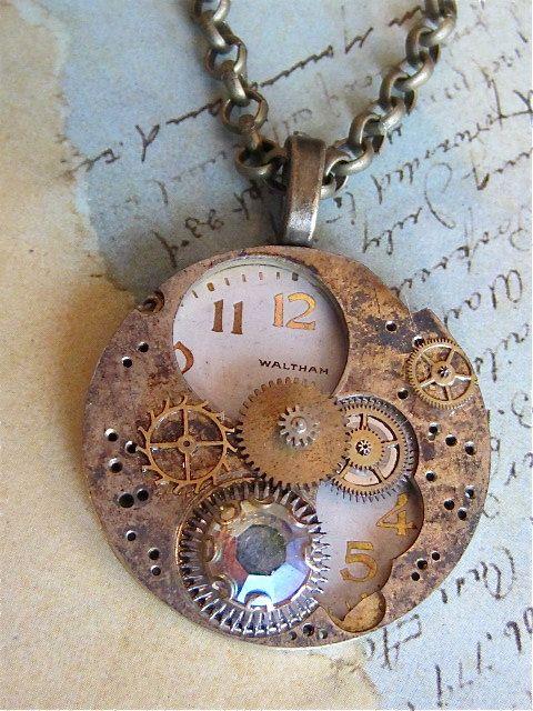 Steampunk watch parts necklace  Orbit  Steampunk by steampunkjunq http://www.steampunkjunq.com  #steampunk #watchpartsjewelry #pocketwatchjewelry