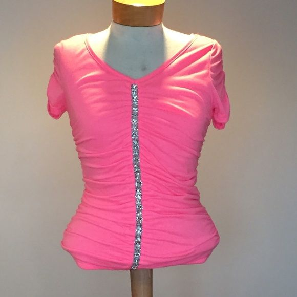 """🆕 Hot pink Top with faux crystal accent.  xsmall 🆕 Hot pink Top with faux crystal accent.  xsmall. Poly/rayon/spandex. 22"""" long. Deb Tops Blouses"""