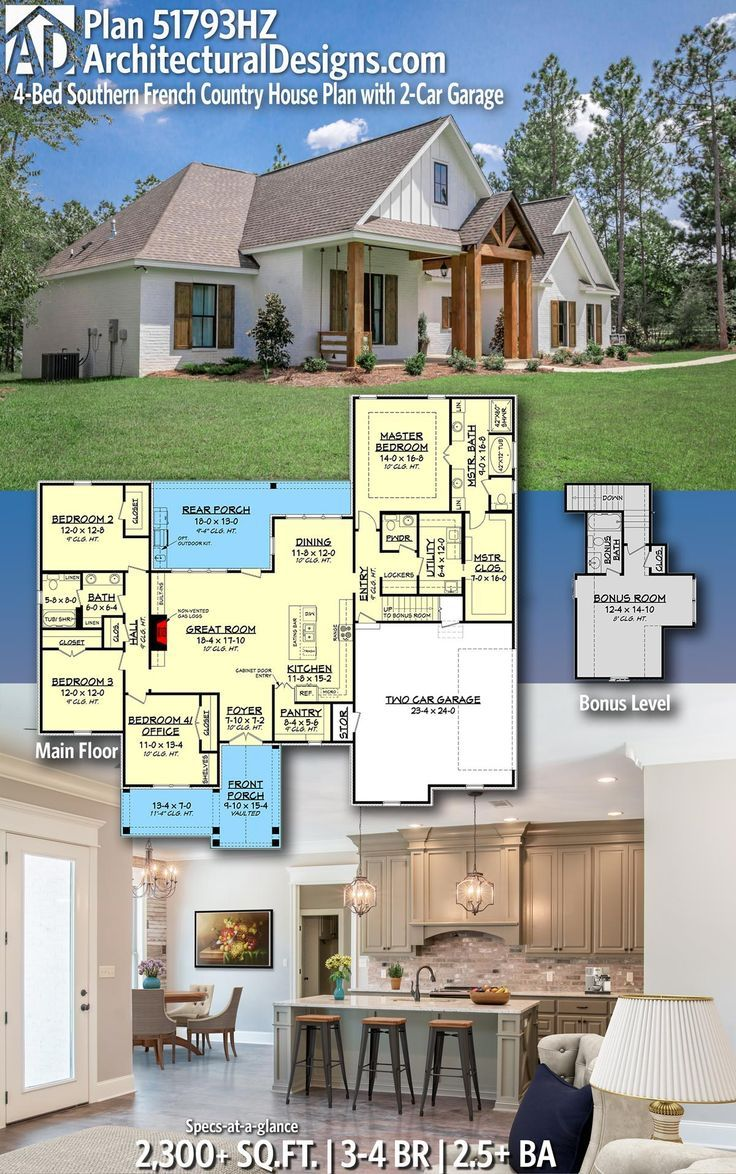 Plan 51793hz 4 Bed Southern French Country House Plan With 2 Car Garage French Country House Plans French Country House Country House Plan