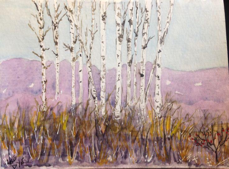 """Trees - """"Autumn in Manitoba """" Watercolour"""