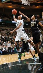 The Michigan State women's basketball team picked up its third victory over a ranked team this afternoon, knocking off No. 19/16 Purdue, 89-73 at the Breslin Center. MSU utilized a balanced and efficient offensive effort, as five Spartans scored in double figures and the team shot 50.0% from the field.  The Spartans (15-7) remain alone in second place in the Big Ten at 7-2.