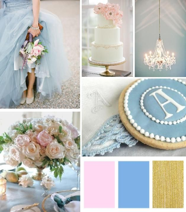 Blue And Pink Wedding Ideas: Color Inspiration: Dusty Blue, Blush Pink & Gold Palette