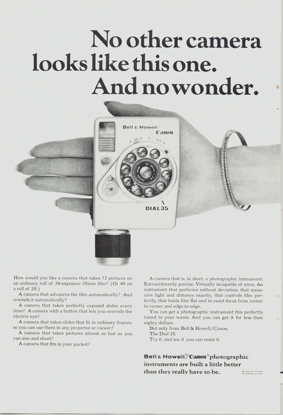 Bell & Howell / Canon Dial 35 ad, 1964