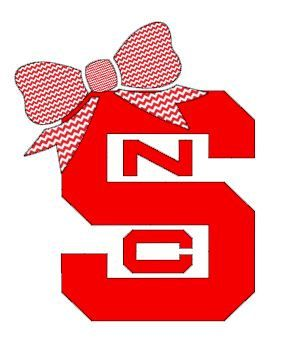 """North Carolina State with Bow Decal for Laptop, Tablet, Notebook, Car - Choose 3"""", 4"""", 5"""" or 6"""" - Choose """"NCS"""" Color & Bow Color"""
