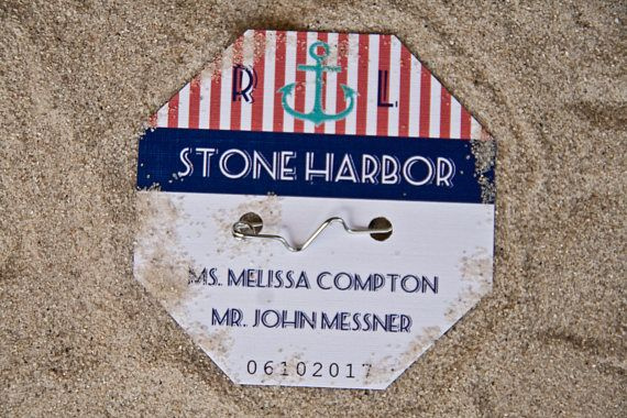 Beach Badge Wedding Place Cards | Beach Tag Anchor Escort Cards | Jersey Shore Wedding | NJ Beach Wedding