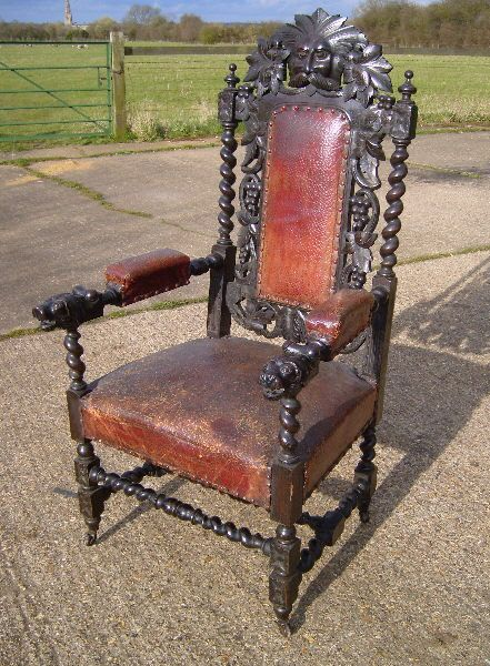 ANTIQUE FURNITURE WAREHOUSE - Set 14 Antique Jacobean Chairs - Set of 14 Fourteen 17th Century Jacobean Design Oak High Back Dining Chairs