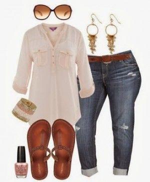 Outfut casual para mujeres de talla grande, encuentra más tips para tu tipo de cuerpo en http://www.1001consejos.com/moda-para-mujeres-de-talla-grande/