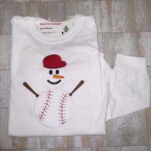 Buyer photo Carly using Original Stitches Baseball Snowman Applique design.