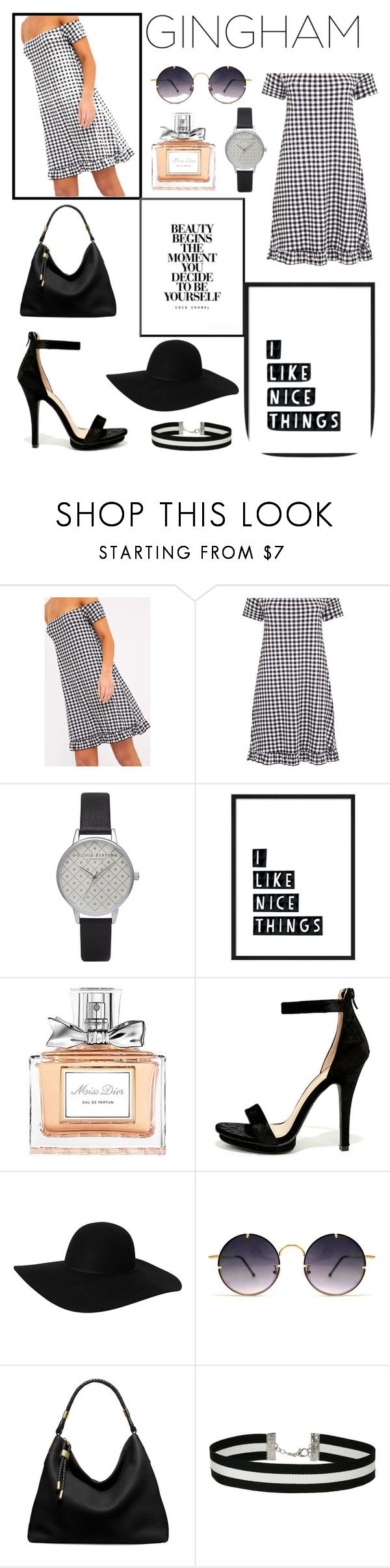"""Gingham"" by margaux-blouin ❤ liked on Polyvore featuring Olivia Burton, Chanel, Christian Dior, Wild Diva, Monki, Spitfire, Michael Kors, Miss Selfridge, black and blackandwhite"