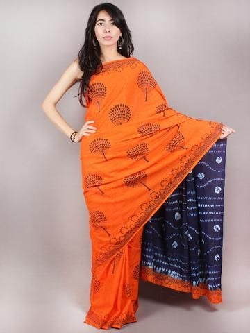 Orange Indigo Shibori Dyed Cotton Mul Saree  - S03170683