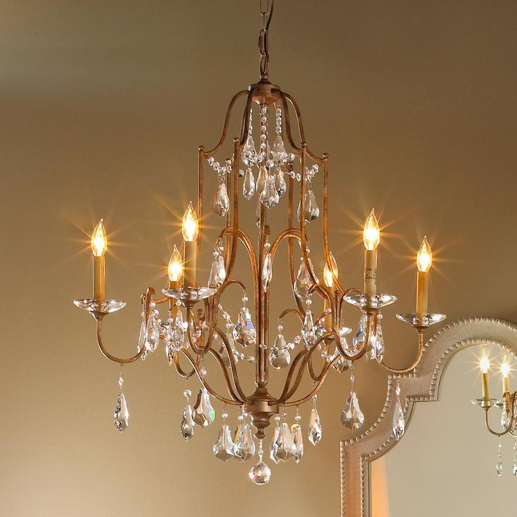 Elegance crystal swag chandelier 6 light
